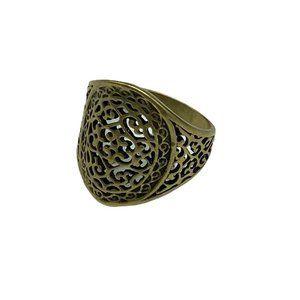 Premier Designs Gold Tone Openwork Filigree Jasmine Ring Sz 10.5